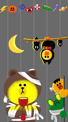 Friends Wallpaper, Bear Wallpaper, Iphone Wallpaper, Kakao Friends, Halloween Wallpaper, Line Friends, Love Bear, Line Illustration, Illustrations And Posters