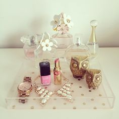 lucite tray with my favorite things