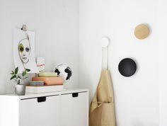 Via A Merry Mishap   White and Wood   Leigh Viner Print and Muuto Dots