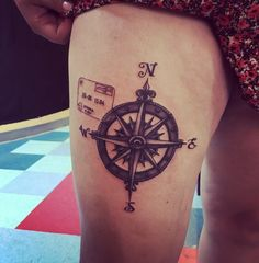My compass and Greece passport stamp tattoo. Done by Scott Bruns at Sanctuary Tattoo in Portland, ME. August 2016.