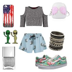 """""""Awkward coordination"""" by justchui ❤ liked on Polyvore featuring Boohoo, Vans, MINKPINK, Nails Inc., ALDO and Casetify"""
