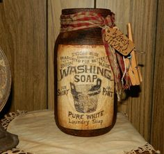 Primitive Union Washing Laundry Soap Label Grubby Glass Jar Ticking Grungy Tag #NaivePrimitive #Seller