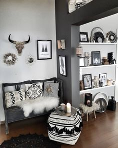 BLACK and WHITE BOHEMIAN eclectic feel of decor - Cologne artwork, animal he. - Home DecorBLACK and WHITE BOHEMIAN eclectic really feel of decor - Cologne paintings, animal head, Scandinavian patterns fringes, woven rug layered . White Bohemian, Bohemian Living, Bohemian Decor, Hippie Bohemian, Vintage Bohemian, Modern Bohemian, Black Bedroom Furniture, Home Decor Furniture, Traditional Decor