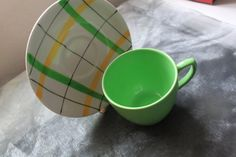 Harlequinade Tea Cup & Saucer c1950s  In Apple Green Design Mid Century Kitchenalia