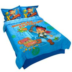 Disney Jake & the Neverland Pirates Full Size Comforter, Bed Skirt, and Shams by Jay Franco. $119.99. Includes a comforter, bedskirt and 2 pillow shams. Set fits 54 x 75-inch full mattresses; shams fit 20 x 26-inch pillows. Made of 60% cotton, 40% polyester. Comforter displays a graphic of Jake, Skully and a treasure chest with 'High Seas Adventure' text on one side; the other side is decorated with intricate pirate ship and treasure graphics; Pillow shams depict Jake...