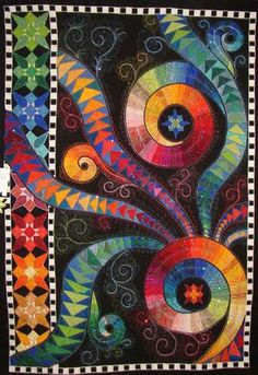 """Turnabout"", Claudia Pfeil, 2007 Viewer's Choice Art Quilt ♥★♥Awesome~Love it♥★♥ Flying Geese Quilt, Rainbow Quilt, Quilt Modernen, Patch Aplique, Colorful Quilts, Art Textile, Contemporary Quilts, Fabric Art, Quilting Designs"