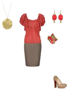 Coral Delicious by cloudyeyz on Polyvore featuring polyvore fashion style Michael Kors Christian Louboutin Gorjana Fantasy Jewelry Box Elephant Heart clothing coral flowy iptt khaki work delicious skirt gold brown