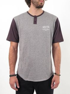 The Russell is a 150-gram 60% cotton/40% polyester jersey short sleeve two-button Henley.