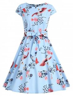 Round Neck Floral and Bird Print Swing Dress