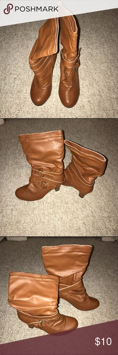 Camel brown boots! So comfy! Perfect boots to wear with summer dresses! Shoes Heeled Boots