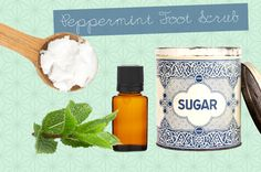 Peppermint Foot Scrub  What it does: Energizes and softens overworked feet  How to make it: Add a cup of granulated sugar to a bowl. Slowly pour some coconut oil (warmed in the microwave) until you reach your desired consistency. Add a few drops of peppermint essential oil or extract, and transfer to a jar