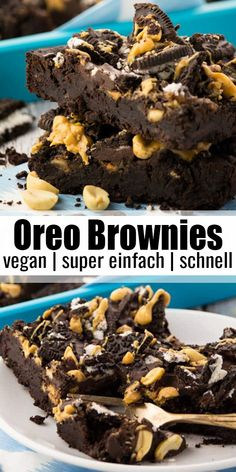 Oreo brownies - These oreo brownies with peanut butter are incredibly tasty, super chocolate and incredibly juicy. - Oreo brownies - These oreo brownies with peanut butter are incredibly tasty, super chocolate and incredibly juicy. Brownie Oreo, Oreo Brownies, Oreo Peanut Butter Brownies, Brownie Brittle, Oreo Cake, Vegan Baking Recipes, Healthy Dessert Recipes, Diet Desserts, Dinner Recipes