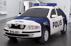 Crocheted police car. PI 541 by Kaija Papu