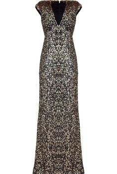 91999343486 jenny packham Black and Gold Sequin Gown Black Sequin Gown