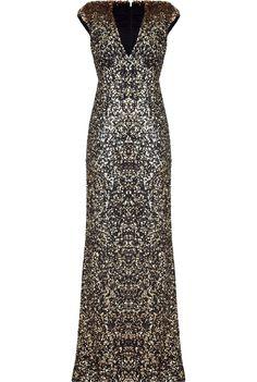 Jenny Packham Black/Gold Sequin Gown