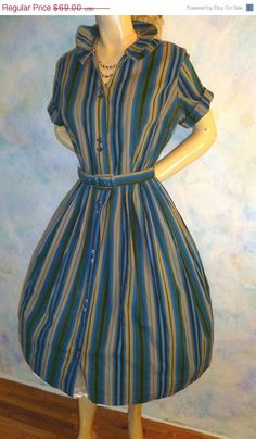 60off 48hr Super Sale Vintage 1950s Dress Blue green by LiRoiTime, $27.60