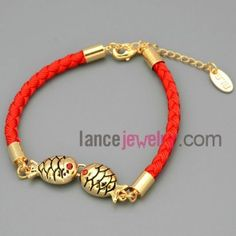 Visual Kissing fishes chain link bracelet in Chinese Red