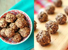 INGREDIENTS  1 cup rolled oats (use gluten-free if sensitive to gluten) 1 medium banana 4 Tbsp powdered peanut butter (I used PB2) 1 Tbsp unsweetened organic cocoa powder 1 tsp vanilla 1 packet Stevia  1 ball • Calories: 41 - See more at: http://www.eat-yourself-skinny.com/2013/06/chocolate-peanut-butter-balls.html#sthash.2YHSs9IT.dpuf