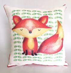Fox Cushion Cover, Fox Cover, Woodland decor, Kids cushion, Baby Bedding, Kids Pillow by LindaWallStickers on Etsy