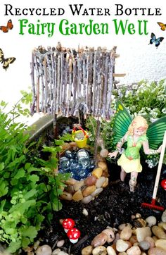 Water Bottle Fairy Garden Well tutorial. Lots of pictures of how to make your own fairy garden well using a water bottle, twigs, and small pebbles.
