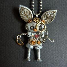Steampunk Robot Bunny Rabbit Necklace Polymer Clay Jewelry. $26.00, via Etsy.