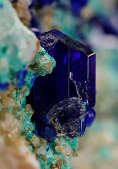 Linarite from the old Roughton Gill mining area Caldbeck Fells, Cumbria.