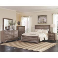 6-Piece Contemporary Bedroom Set Oak Wood Taupe Brown Queen Bed Cottage Style…