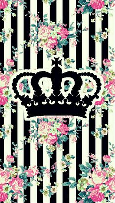 Crown floral striped wallpaper I created for the app CocoPPa.