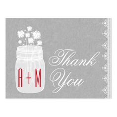 Rustic Mason Jar and Flowers Thank You Gray A09 Postcard