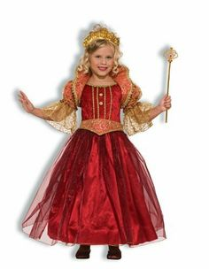 Renaissance Damsel Costume - Child Costume - Large (12-14) . $29.88. Includes dress, jacket and belt.. Please note wand, shoes tights and crown are not included.. Available in Child size Small (4-6), Medium (8-10), and Large (12-14).. Renaissance Damsel Costume includes bright ruby red dress with sheer over lay skirt, gold lame detailing at chest, beautiful glitter swirl detailed jacket with sheer sleeves and standing collar, and matching belt. Please note wand, shoes tights ...