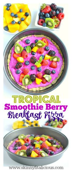 Tropical Smoothie Berry Breakfast Pizza made with a gluten free oat crust and topped with a Greek yogurt dragon fruit smoothie and fresh fruit. A delicious breakfast or dessert for summer that's made in a blender!