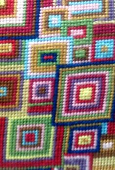 kaffe fassett pattern - overlapping squares series - really want to do some cushions like this. Needlepoint Designs, Needlepoint Canvases, Cross Stitching, Cross Stitch Embroidery, Embroidery Patterns, Cross Stitch Designs, Cross Stitch Patterns, Cross Stitch Cushion, Tapestry Design