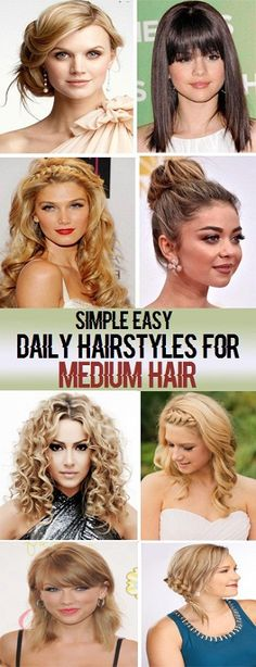 Simple Easy Daily Hairstyles for Medium Hair..