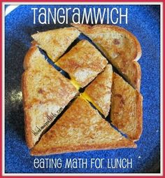 "Tanagrams.  Eating math for lunch.  Use with the book ""Grandfather Tang's Story"".  From site pinned: ""A tangram literally means 7 boards of skill and goes way back to China a long, long, long time ago. Tangrams feed your brain concepts like fractions, g"
