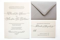 Modern Calligraphy Letterpress Wedding by sofiainvitations on Etsy