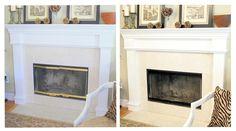 Painting brass fireplace fixtures.
