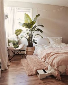 7 Gorgeous Pink Bedrooms That You Can Totally Re-create at Home - Botanical and pink boho-chic bedroom Pink bedroom decor ideas Image via Insta bedroomsdecor # Pink Bedroom Decor, Boho Chic Bedroom, Comfy Bedroom, Pink Bedrooms, Room Ideas Bedroom, Fall Bedroom, Bed Room, Bedroom Inspo, Teen Bedroom