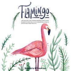 flamingo da aguarela com folhas Vetor grátis