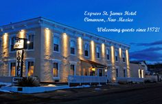 The St. James Hotel, Cimarron, NM. Famous guests include Wyatt Earp, Jessie James, and Annie Oakley. The hotel was founded in 1872 by Henri Lambert, personal chef to Abraham Lincoln. We stayed there on my birthday.