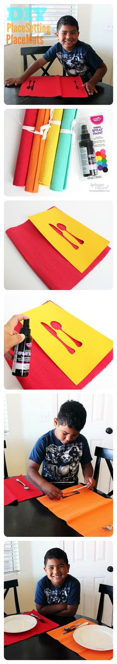 Teach the kids how ot set the table with this easy place setting placemats project!  http://hydrangeahippo.com/2014/06/setting-the-table-diy-placemat-project/
