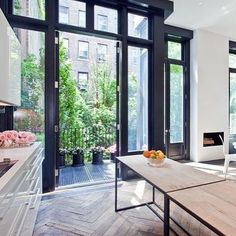 LANEWAY: I'm on a new journey designing my own laneway and I want to share all the inspo and goodies with you! This pic pretty much sums it up. Herringbone floor, black windows, white kitchen. Oh, this is going to be fun! @livingetcuk #livinginalaneway