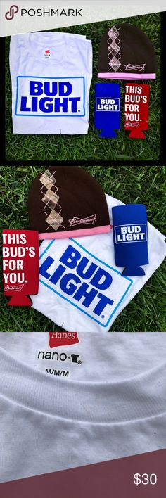 🍺🍺Adorable His & Hers Budweiser Bundle❗️🍺🍺 Hoooooray Beer❗️ Adorable matching beer koozies, women's Budweiser Beanie, and Adult size Medium Budlight shirt. Perfect for any beer loving couple, all items are brand new! BUDWEISER 🍺 Other