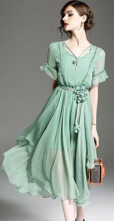 Elegant Flare Sleeve Asymmetric Skater Dress