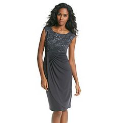 Dresses. Sequined lace and a draped design lend a stylish sophistication to this knee length dress from Connected. Featured in gunmetal Boatneck Cap sleeves Sequin lace overlay at the bodice Wrapped style skirt with a draped front detail Hits at the knee Polyester/spandex Imported