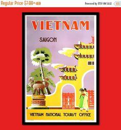 ON SALES Vietnam Travel Print - Vietnamese Poster Travel Wall Decor Vietnam Poster Saigon Vietnamese Prints Travel Wall Decor BUY 3 Get 1 Fr