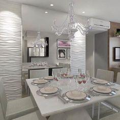 """1,220 curtidas, 5 comentários - DecorNatal (@decornatal) no Instagram: """"Belíssima sala de jantar totalmente branca, e os detalhes maravilhosos são: o lustre, as paredes e…"""" Kitchen Room Design, Dining Room Design, Dining Room Paint Colors, Dining Room Table Centerpieces, Dinner Room, Bathroom Interior, Home Interior Design, Dining Furniture, Living Room Decor"""