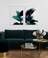 Plakat med foto av palmeblad...