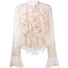 See by Chloe' Drapped Shirt ($255) ❤ liked on Polyvore featuring tops, blouses, pink, bell sleeve tops, fringe shirts, scalloped blouse, pink shirts and button front shirt