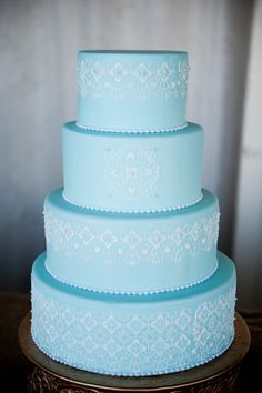 Turquoise Cake with a Beautiful White Lace Stencil by CMH Cakes  www.cmhcakes.blogspot.com