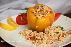 Chicken and Mediterranian Couscous Stuffed Peppers - Will Cook For Smiles